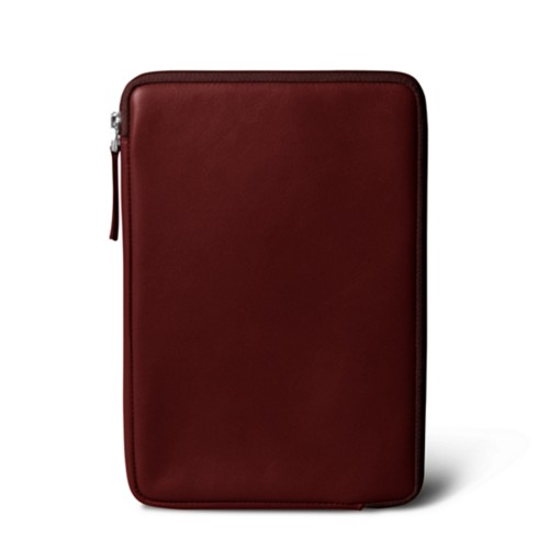 Zipped pouch for iPad Mini 4 - Burgundy - Smooth Leather