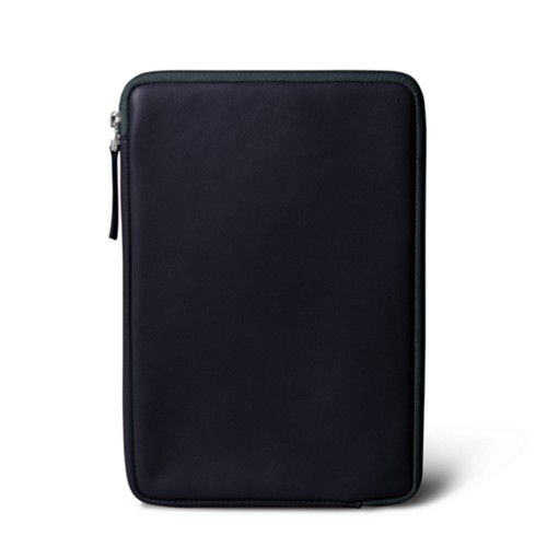 Zipped pouch for iPad Mini 4 - Navy Blue - Smooth Leather