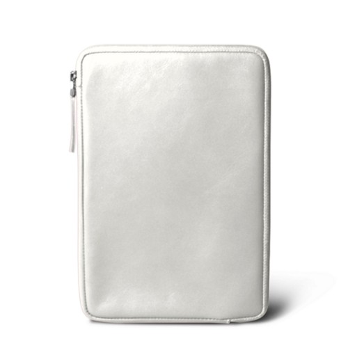 Zipped pouch for iPad Mini 4 - White - Smooth Leather