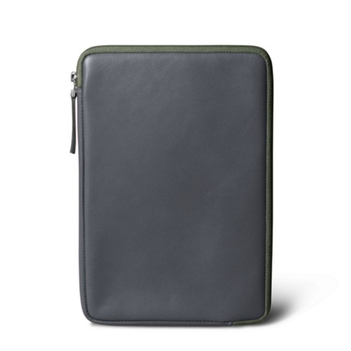 Zipped pouch for iPad Mini 4 - Mouse-Grey - Smooth Leather
