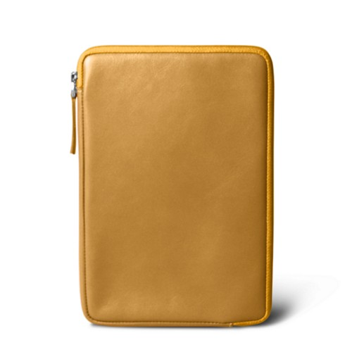 Zipped pouch for iPad Mini 4 - Mustard Yellow - Smooth Leather