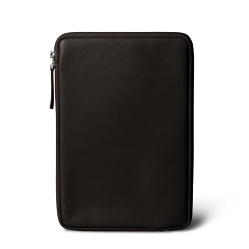 Zipped pouch for iPad Mini 4 - Brown - Smooth Leather