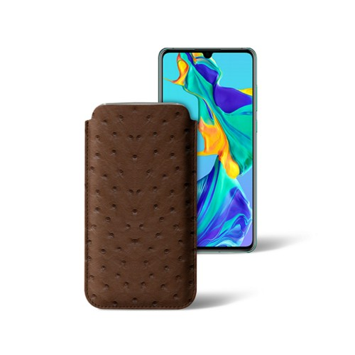 Classic sleeve for Samsung Galaxy S7 Edge - Tobacco - Real Ostrich Leather