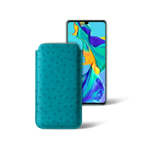 Classic sleeve for Samsung Galaxy S7 edge - Turquoise - Real Ostrich Leather