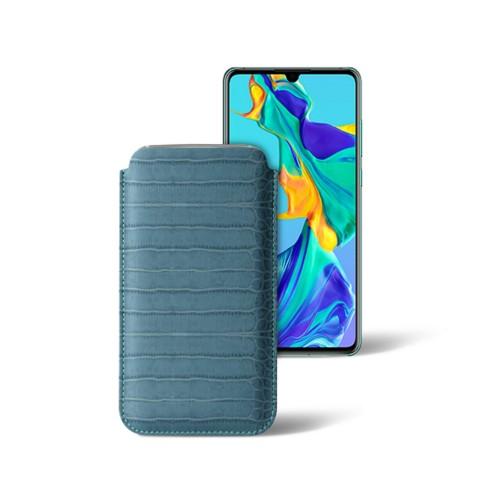 Classic sleeve for Samsung Galaxy S7 edge - Turquoise - Crocodile style calfskin