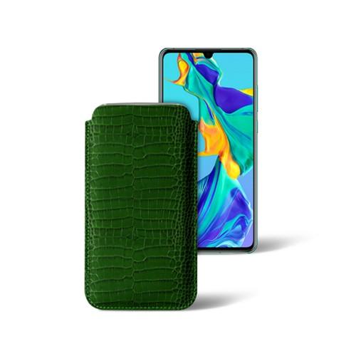 Classic sleeve for Samsung Galaxy S7 Edge - Light Green - Crocodile style calfskin