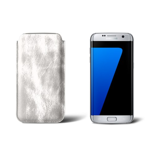 Classic sleeve for Samsung Galaxy S7 edge - Silver - Metallic Leather