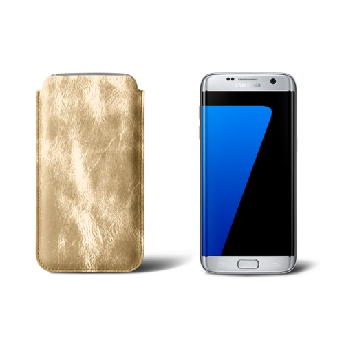 Classic sleeve for Samsung Galaxy S7 edge - Golden - Metallic Leather