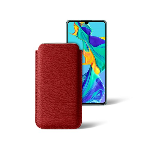 Classic sleeve for Samsung Galaxy S7 Edge - Red - Granulated Leather