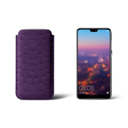 Huawei P20 Sleeve - Purple - Real Ostrich Leather