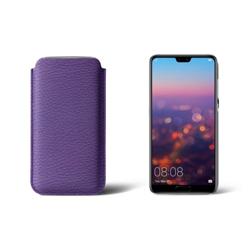 Huawei P20 Sleeve - Lavender - Granulated Leather