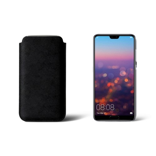 Huawei P20 Sleeve - Black - Vegetable Tanned Leather