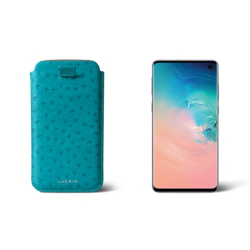 Samsung Galaxy S7 Edge case with pull-up strap - Turquoise - Real Ostrich Leather