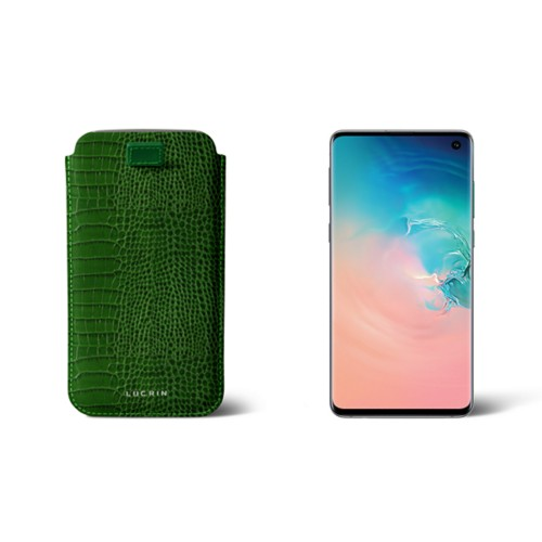 Samsung Galaxy S7 Edge case with pull-up strap - Light Green - Crocodile style calfskin