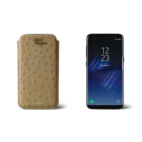 Samsung Galaxy S8 pouch with pull-up strap - Beige - Real Ostrich Leather