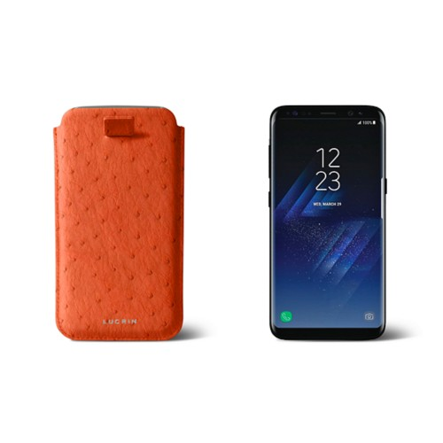 Samsung Galaxy S8 pouch with pull-up strap - Orange - Real Ostrich Leather