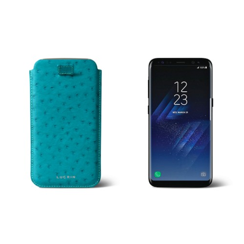 Samsung Galaxy S8 pouch with pull-up strap - Turquoise - Real Ostrich Leather