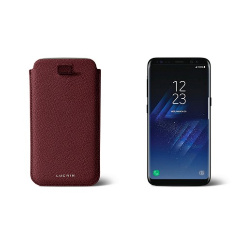 Samsung Galaxy S8 pouch with pull-up strap - Burgundy - Goat Leather