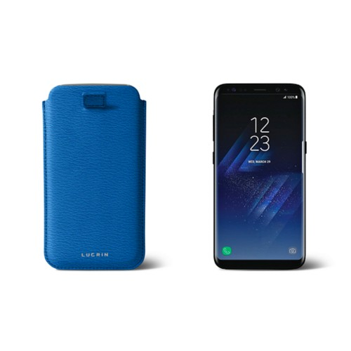 Samsung Galaxy S8 pouch with pull-up strap - Royal Blue - Goat Leather