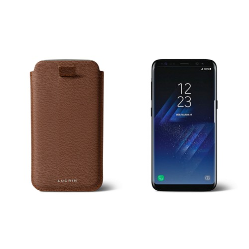 Samsung Galaxy S8 pouch with pull-up strap - Tan - Goat Leather