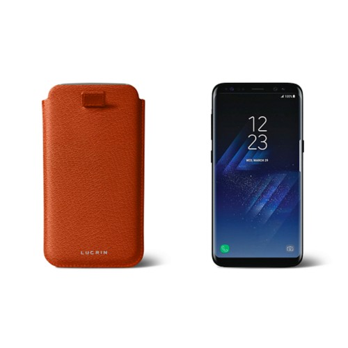 Samsung Galaxy S8 pouch with pull-up strap - Orange - Goat Leather