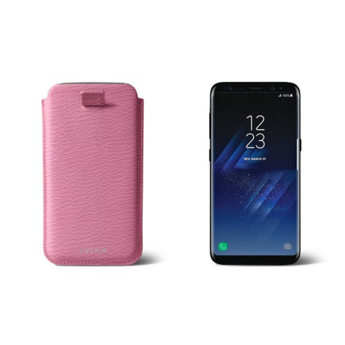 Samsung Galaxy S8 pouch with pull-up strap - Pink - Goat Leather