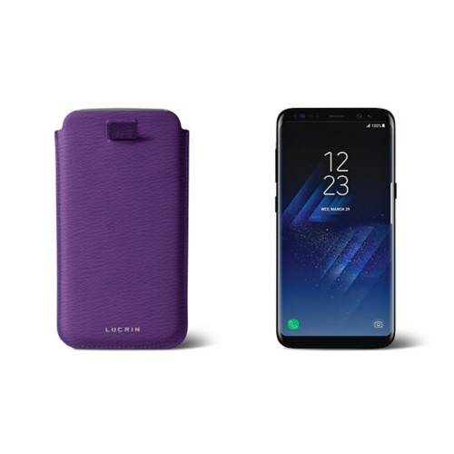 Samsung Galaxy S8 pouch with pull-up strap - Purple - Goat Leather