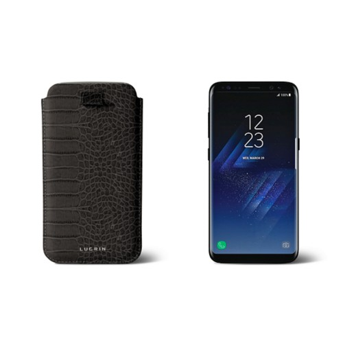Samsung Galaxy S8 pouch with pull-up strap - Mouse-Grey - Crocodile style calfskin