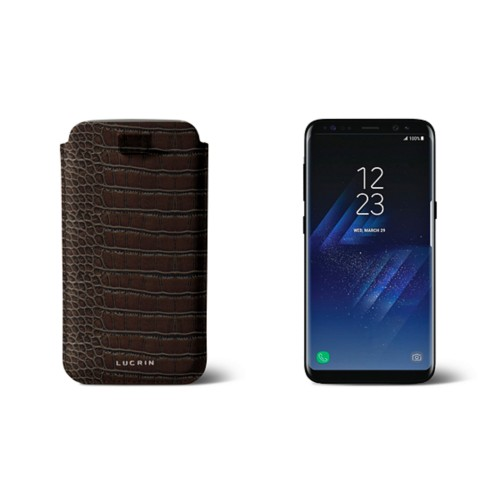 Samsung Galaxy S8 pouch with pull-up strap - Dark Brown - Crocodile style calfskin