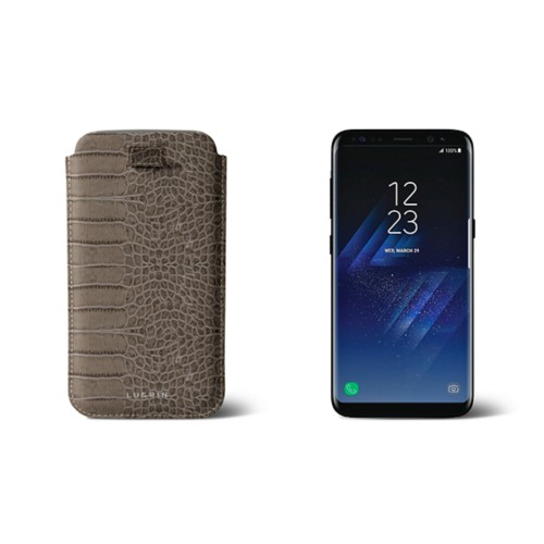 Samsung Galaxy S8 pouch with pull-up strap - Light Taupe - Crocodile style calfskin