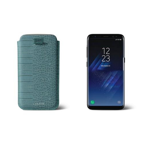 Samsung Galaxy S8 pouch with pull-up strap - Turquoise - Crocodile style calfskin