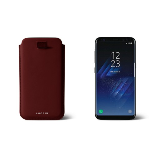 Samsung Galaxy S8 pouch with pull-up strap - Burgundy - Smooth Leather