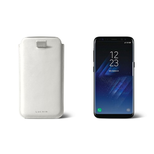 Samsung Galaxy S8 pouch with pull-up strap - White - Smooth Leather