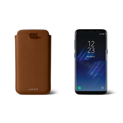 Samsung Galaxy S8 pouch with pull-up strap - Tan - Smooth Leather