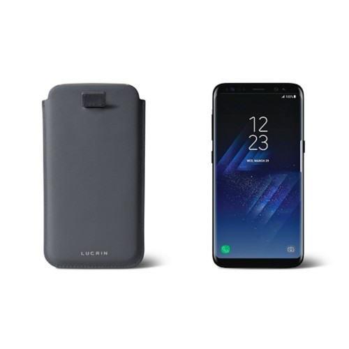 Samsung Galaxy S8 pouch with pull-up strap - Mouse-Grey - Smooth Leather