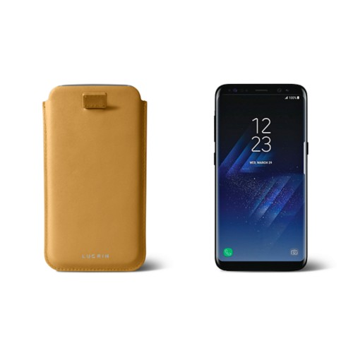 Samsung Galaxy S8 pouch with pull-up strap - Mustard Yellow - Smooth Leather