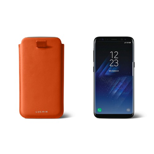Samsung Galaxy S8 pouch with pull-up strap - Orange - Smooth Leather
