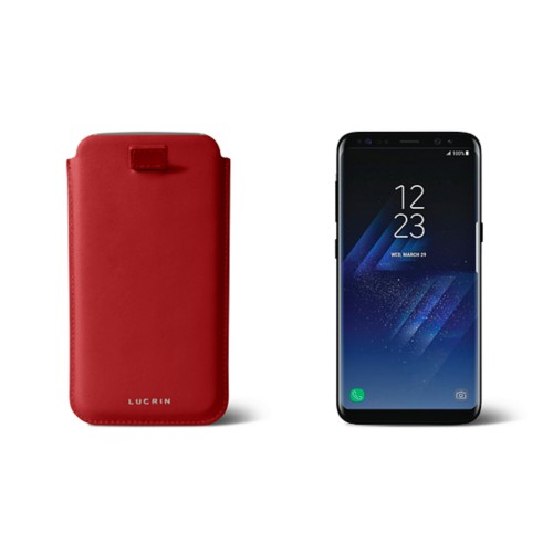 Samsung Galaxy S8 pouch with pull-up strap - Red - Smooth Leather