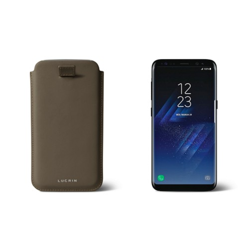 Samsung Galaxy S8 pouch with pull-up strap - Dark Taupe - Smooth Leather