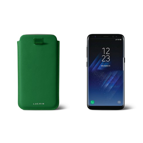 Samsung Galaxy S8 pouch with pull-up strap - Light Green - Smooth Leather