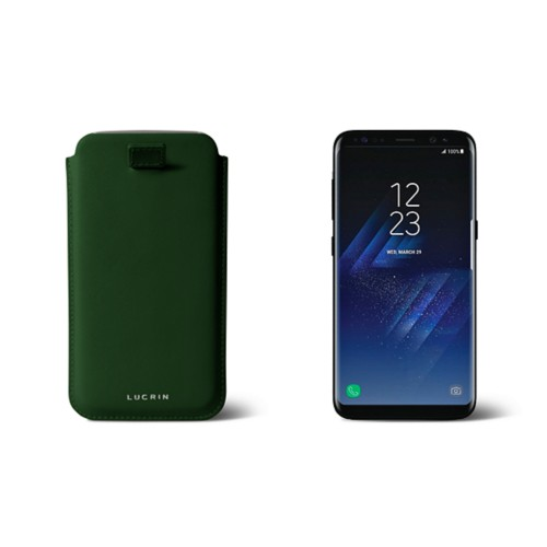 Samsung Galaxy S8 pouch with pull-up strap - Dark Green - Smooth Leather