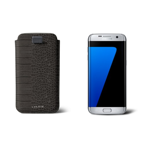 Samsung Galaxy S7 Edge case with pull-up strap - Mouse-Grey - Crocodile style calfskin