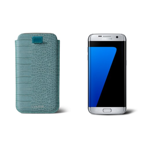 Samsung Galaxy S7 Edge case with pull-up strap - Turquoise - Crocodile style calfskin