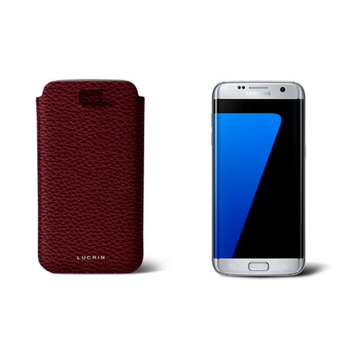 Samsung Galaxy S7 Edge case with pull-up strap - Burgundy - Granulated Leather