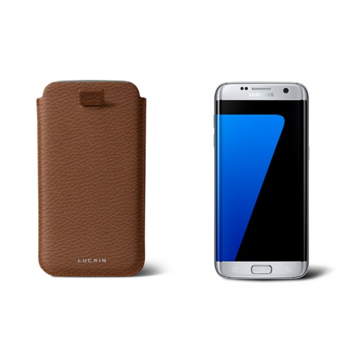 Samsung Galaxy S7 Edge case with pull-up strap - Tan - Granulated Leather