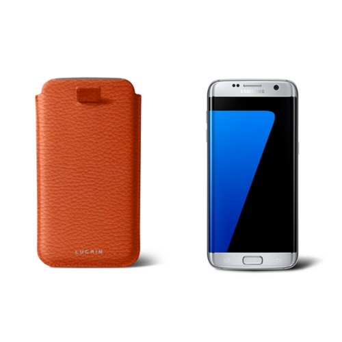 Samsung Galaxy S7 Edge case with pull-up strap - Orange - Granulated Leather
