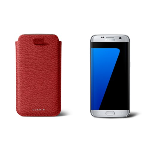 Samsung Galaxy S7 Edge case with pull-up strap - Red - Granulated Leather