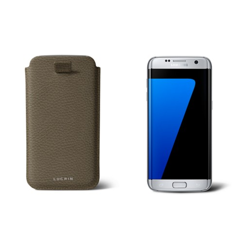 Samsung Galaxy S7 Edge case with pull-up strap - Dark Taupe - Granulated Leather
