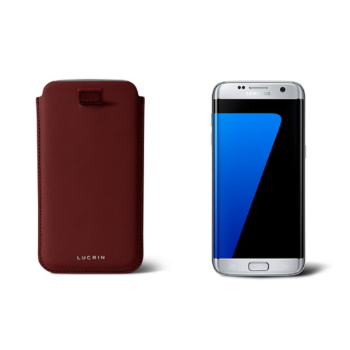 Samsung Galaxy S7 Edge case with pull-up strap - Burgundy - Smooth Leather