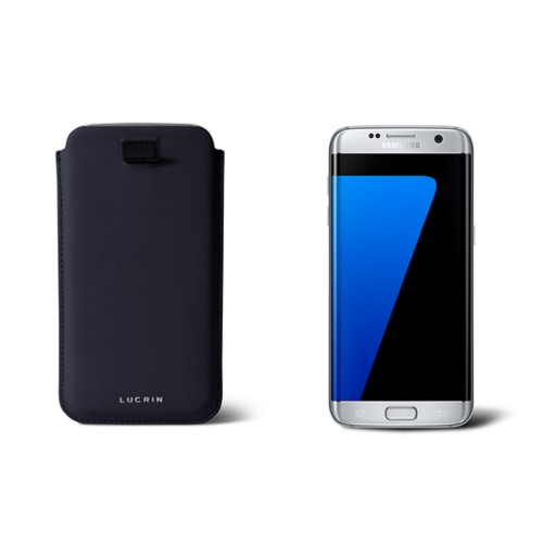 Samsung Galaxy S7 Edge case with pull-up strap - Navy Blue - Smooth Leather